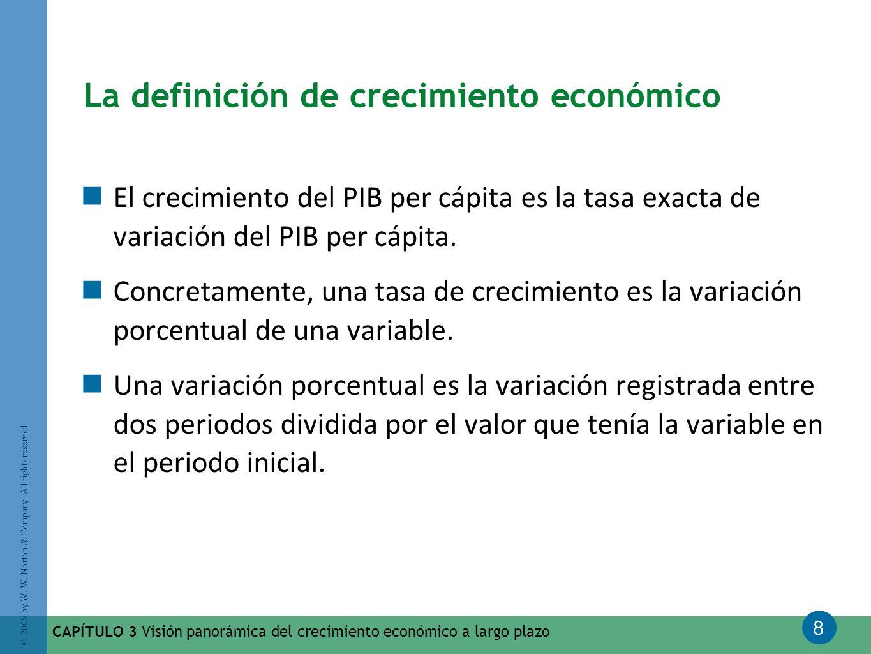 8 © 2008 by W. W. Norton & Company. All rights reserved CAPÍTULO 3 Visión panorámica del crecimiento económico a largo plazo La definición de crecimie