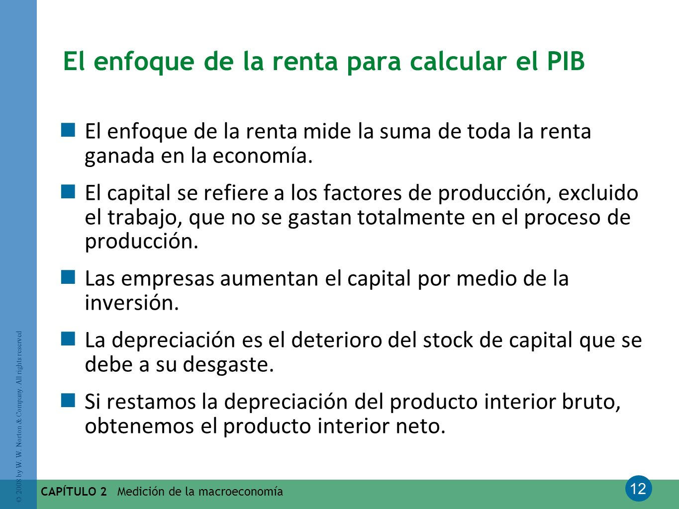 12 © 2008 by W. W. Norton & Company. All rights reserved CAPÍTULO 2 Medición de la macroeconomía El enfoque de la renta para calcular el PIB El enfoqu
