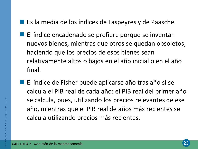 23 © 2008 by W. W. Norton & Company. All rights reserved CAPÍTULO 2 Medición de la macroeconomía Es la media de los índices de Laspeyres y de Paasche.