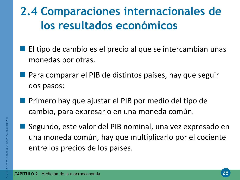 26 © 2008 by W. W. Norton & Company. All rights reserved CAPÍTULO 2 Medición de la macroeconomía 2.4 Comparaciones internacionales de los resultados e