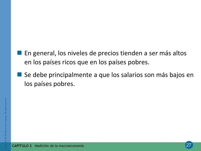 27 © 2008 by W. W. Norton & Company. All rights reserved CAPÍTULO 2 Medición de la macroeconomía En general, los niveles de precios tienden a ser más