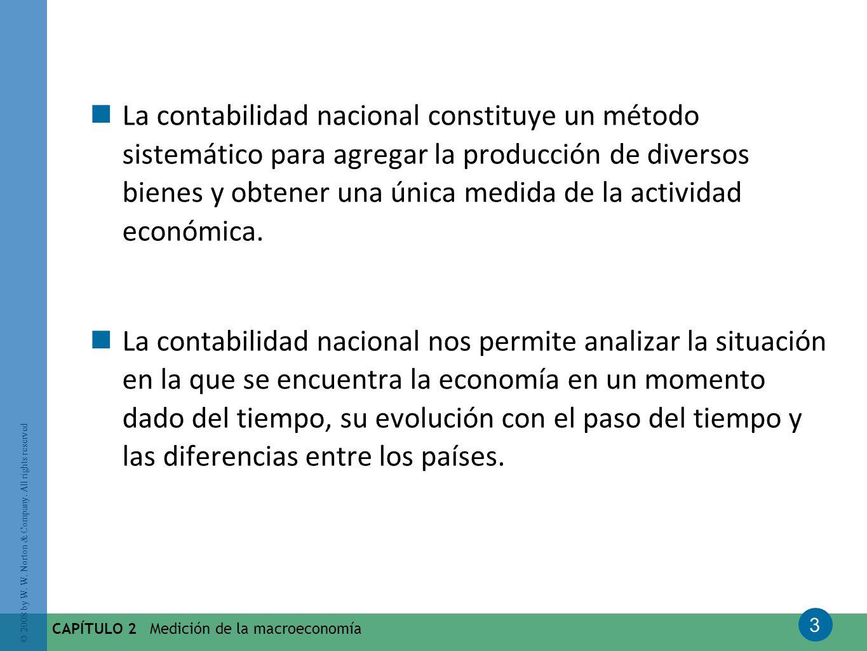 3 © 2008 by W. W. Norton & Company. All rights reserved CAPÍTULO 2 Medición de la macroeconomía La contabilidad nacional constituye un método sistemát