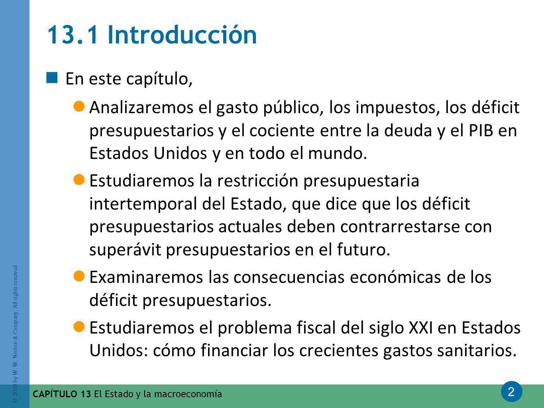 2 © 2008 by W. W. Norton & Company. All rights reserved CAPÍTULO 13 El Estado y la macroeconomía 13.1 Introducción En este capítulo, Analizaremos el g