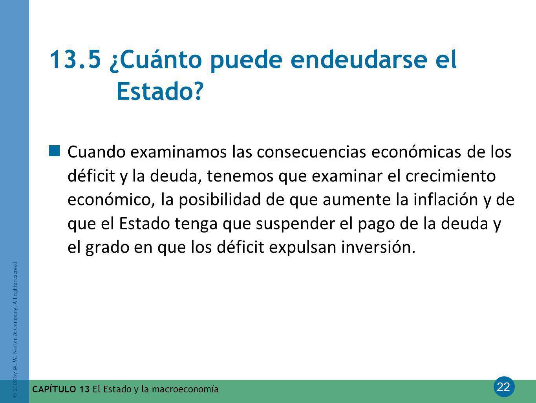 22 © 2008 by W. W. Norton & Company. All rights reserved CAPÍTULO 13 El Estado y la macroeconomía 13.5 ¿Cuánto puede endeudarse el Estado? Cuando exam