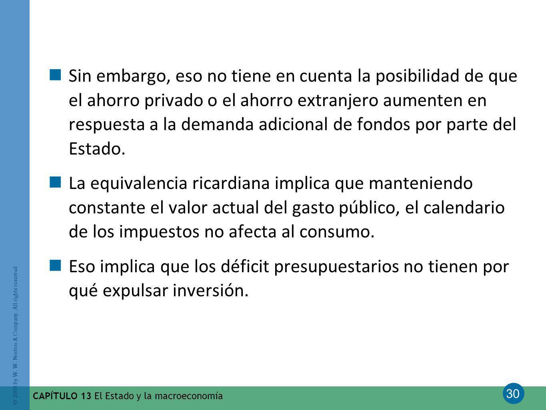 30 © 2008 by W. W. Norton & Company. All rights reserved CAPÍTULO 13 El Estado y la macroeconomía Sin embargo, eso no tiene en cuenta la posibilidad d