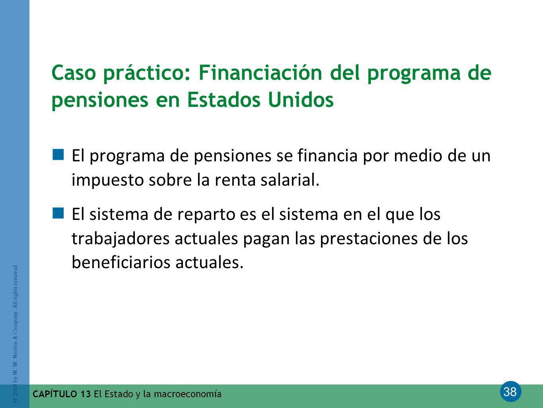 38 © 2008 by W. W. Norton & Company. All rights reserved CAPÍTULO 13 El Estado y la macroeconomía Caso práctico: Financiación del programa de pensione