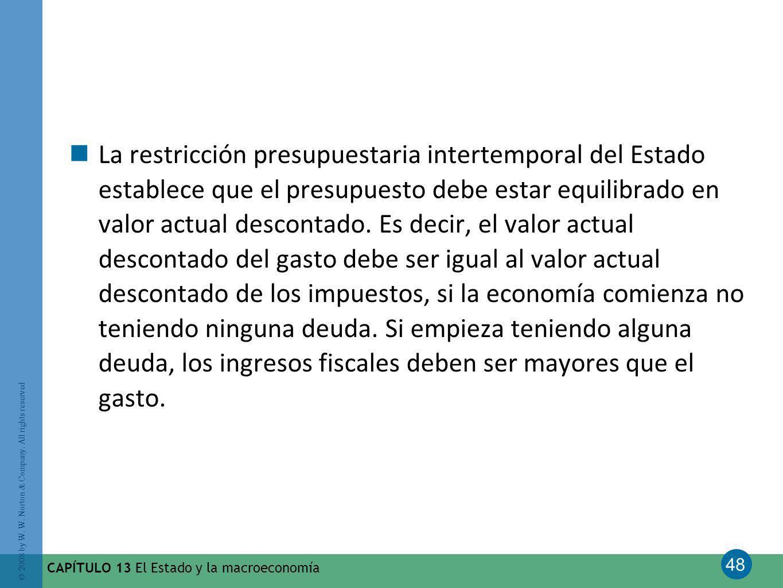 48 © 2008 by W. W. Norton & Company. All rights reserved CAPÍTULO 13 El Estado y la macroeconomía La restricción presupuestaria intertemporal del Esta