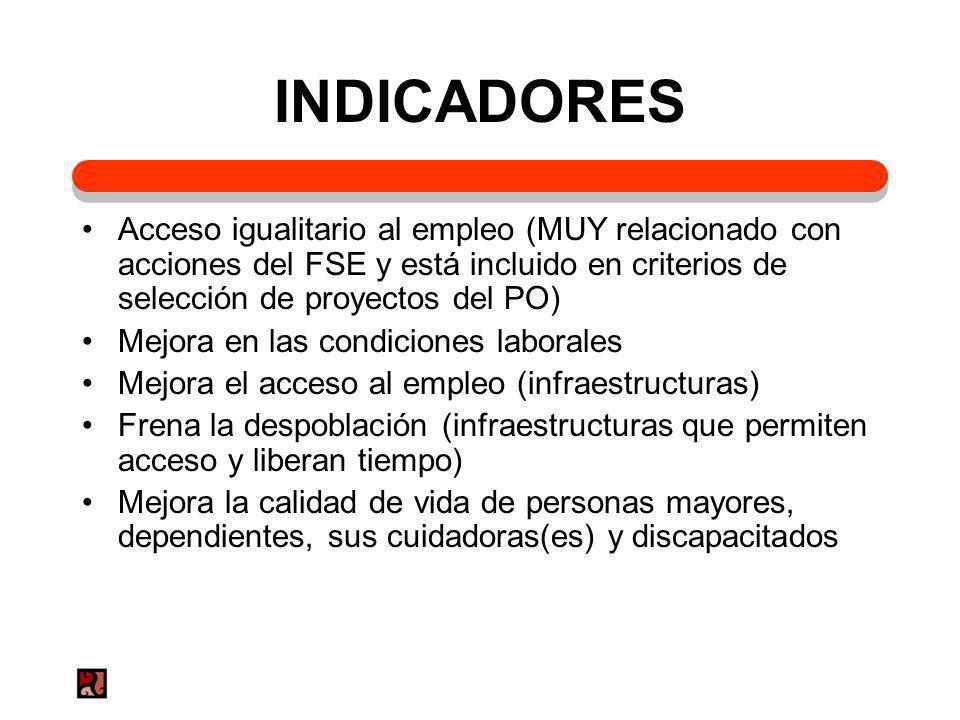 INDICADORES Acceso igualitario al empleo (MUY relacionado con acciones del FSE y está incluido en criterios de selección de proyectos del PO) Mejora e