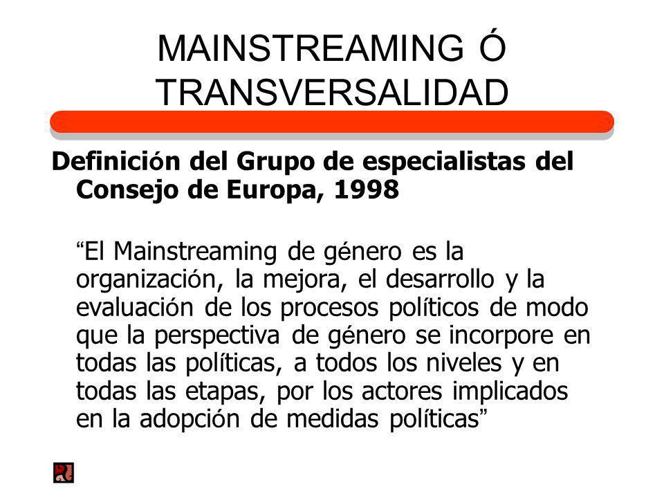 MAINSTREAMING Ó TRANSVERSALIDAD Definici ó n del Grupo de especialistas del Consejo de Europa, 1998 El Mainstreaming de g é nero es la organizaci ó n,