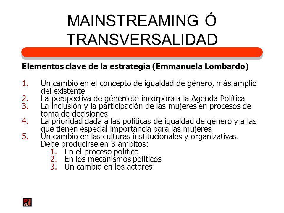 MAINSTREAMING Ó TRANSVERSALIDAD Elementos clave de la estrategia (Emmanuela Lombardo) 1.Un cambio en el concepto de igualdad de g é nero, m á s amplio