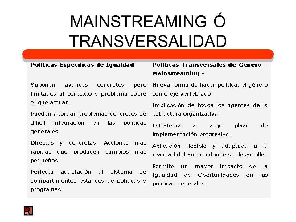 MAINSTREAMING Ó TRANSVERSALIDAD