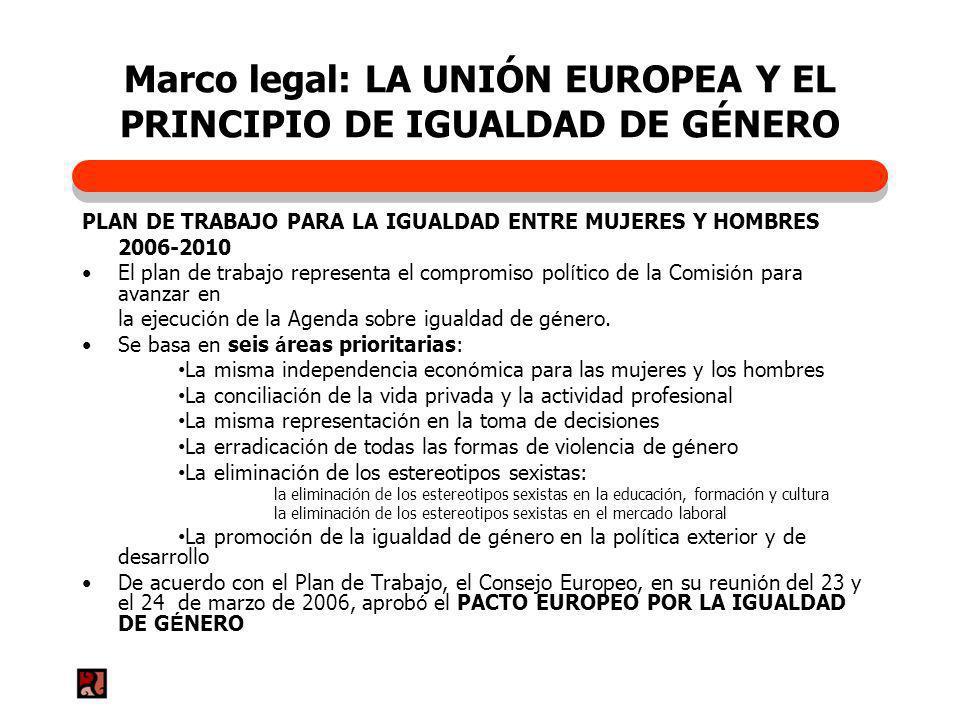 Marco legal: LA UNIÓN EUROPEA Y EL PRINCIPIO DE IGUALDAD DE GÉNERO PLAN DE TRABAJO PARA LA IGUALDAD ENTRE MUJERES Y HOMBRES 2006-2010 El plan de traba
