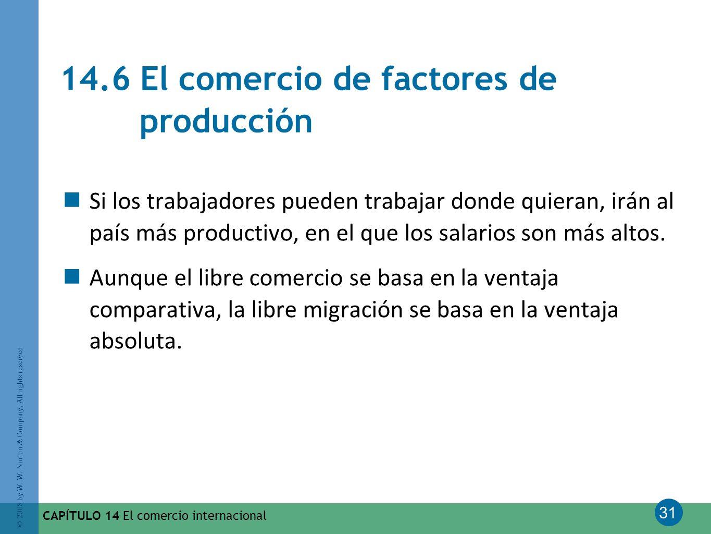31 © 2008 by W. W. Norton & Company. All rights reserved CAPÍTULO 14 El comercio internacional 14.6 El comercio de factores de producción Si los traba