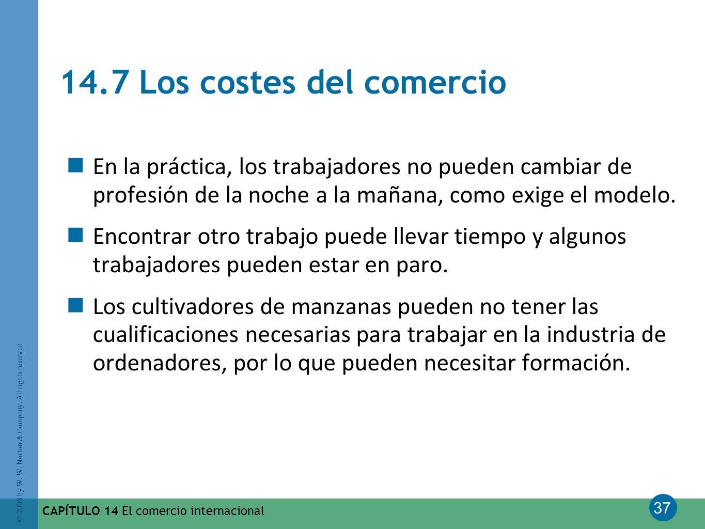 37 © 2008 by W. W. Norton & Company. All rights reserved CAPÍTULO 14 El comercio internacional 14.7 Los costes del comercio En la práctica, los trabaj