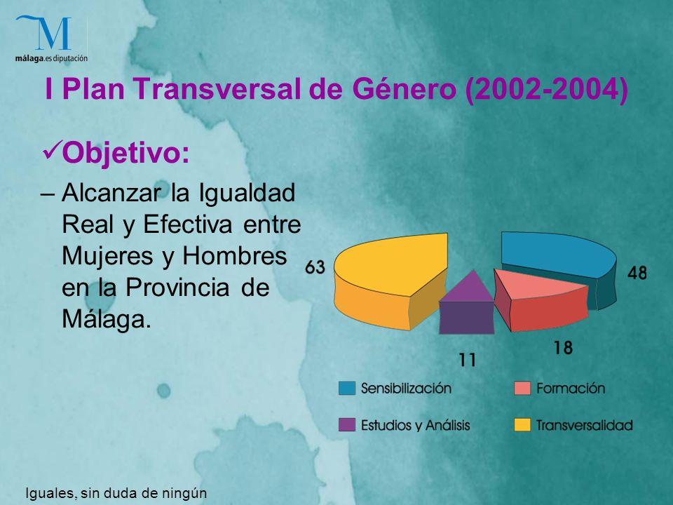 I Plan Transversal de Género (2002-2004) Objetivo: –Alcanzar la Igualdad Real y Efectiva entre Mujeres y Hombres en la Provincia de Málaga.