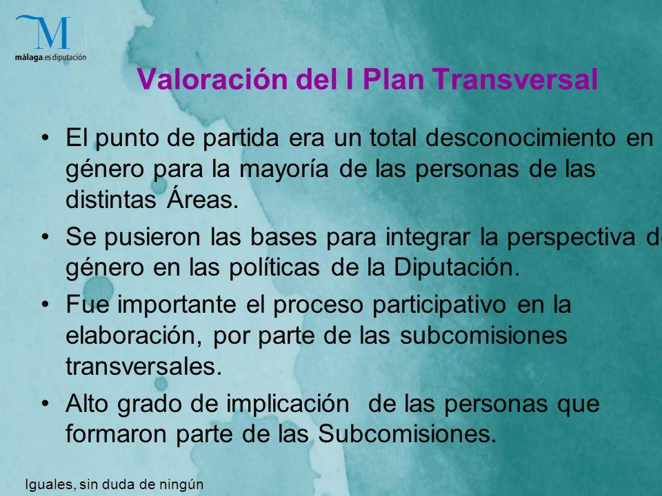 Valoración del I Plan Transversal El punto de partida era un total desconocimiento en género para la mayoría de las personas de las distintas Áreas.
