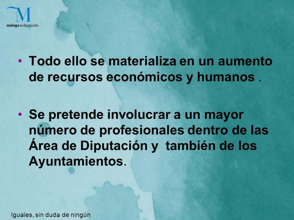Todo ello se materializa en un aumento de recursos económicos y humanos.