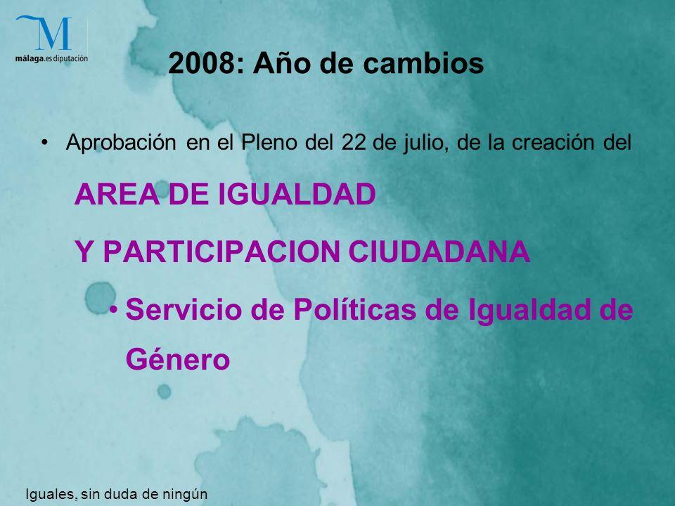2008: Año de cambios Aprobación en el Pleno del 22 de julio, de la creación del AREA DE IGUALDAD Y PARTICIPACION CIUDADANA Servicio de Políticas de Igualdad de Género Iguales, sin duda de ningún género