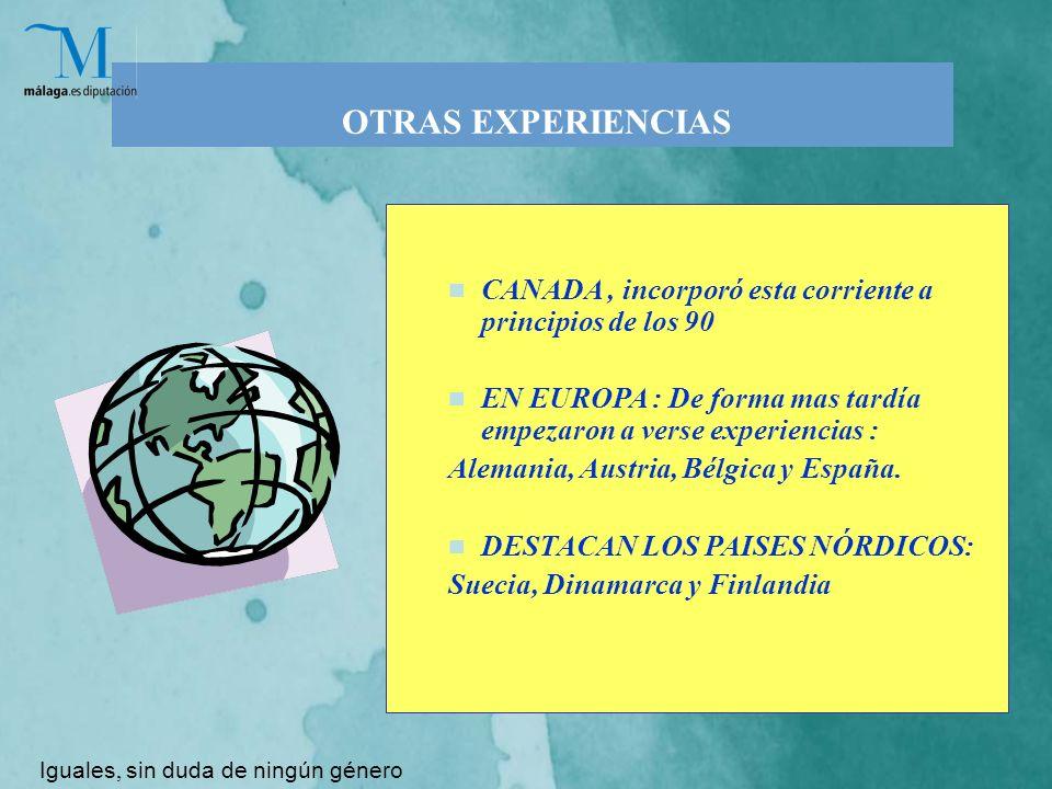 OTRAS EXPERIENCIAS CANADA, incorporó esta corriente a principios de los 90 EN EUROPA : De forma mas tardía empezaron a verse experiencias : Alemania, Austria, Bélgica y España.