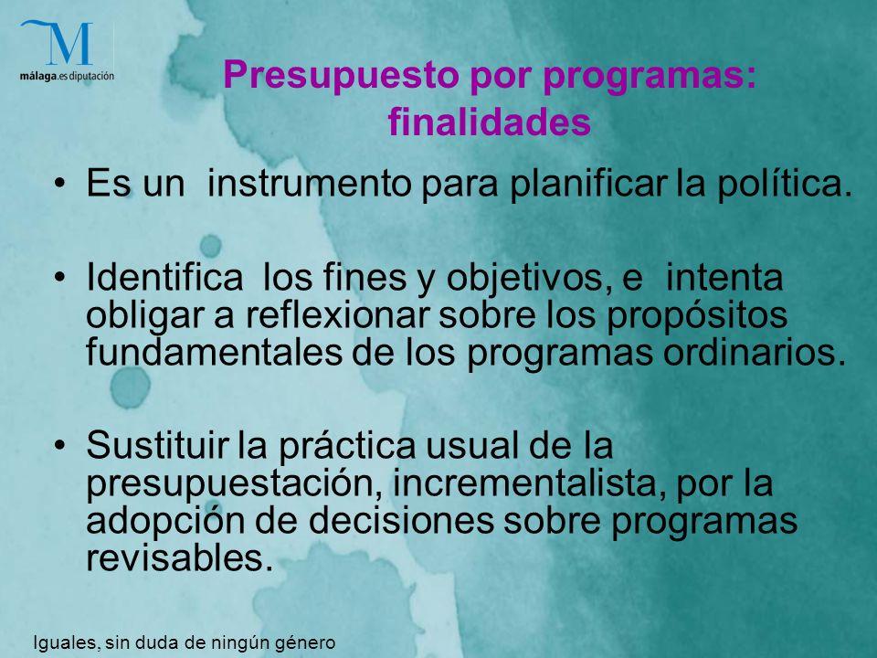 Presupuesto por programas: finalidades Es un instrumento para planificar la política.
