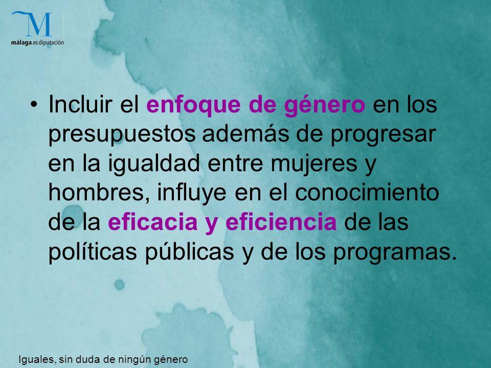 Incluir el enfoque de género en los presupuestos además de progresar en la igualdad entre mujeres y hombres, influye en el conocimiento de la eficacia y eficiencia de las políticas públicas y de los programas.