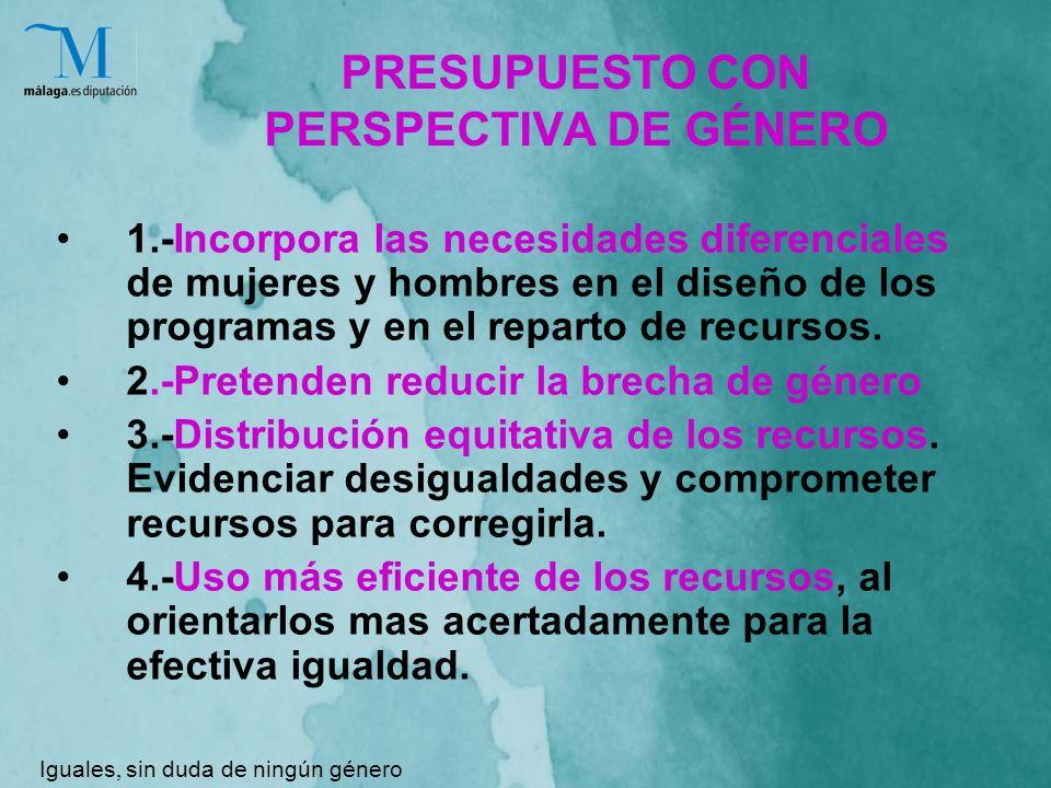 PRESUPUESTO CON PERSPECTIVA DE GÉNERO 1.-Incorpora las necesidades diferenciales de mujeres y hombres en el diseño de los programas y en el reparto de recursos.