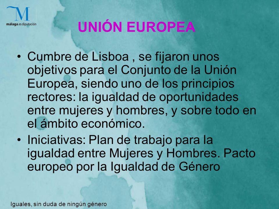 UNIÓN EUROPEA Cumbre de Lisboa, se fijaron unos objetivos para el Conjunto de la Unión Europea, siendo uno de los principios rectores: la igualdad de oportunidades entre mujeres y hombres, y sobre todo en el ámbito económico.