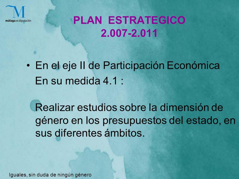 PLAN ESTRATEGICO 2.007-2.011 En el eje II de Participación Económica En su medida 4.1 : Realizar estudios sobre la dimensión de género en los presupuestos del estado, en sus diferentes ámbitos.