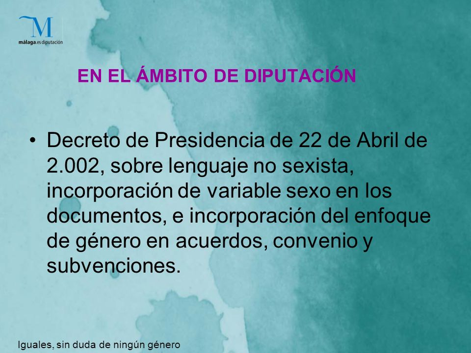 EN EL ÁMBITO DE DIPUTACIÓN Decreto de Presidencia de 22 de Abril de 2.002, sobre lenguaje no sexista, incorporación de variable sexo en los documentos, e incorporación del enfoque de género en acuerdos, convenio y subvenciones.