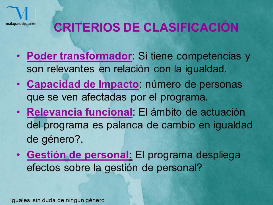 CRITERIOS DE CLASIFICACIÓN Poder transformador: Si tiene competencias y son relevantes en relación con la igualdad.