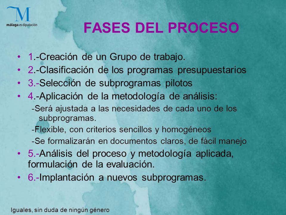 FASES DEL PROCESO 1.-Creación de un Grupo de trabajo.