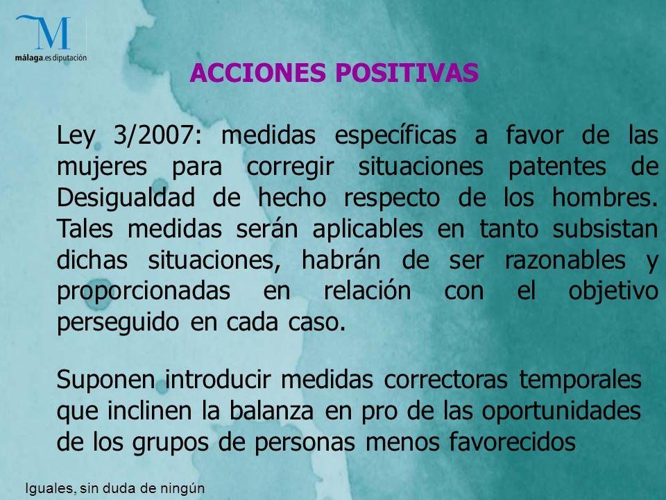 ACCIONES POSITIVAS Ley 3/2007: medidas específicas a favor de las mujeres para corregir situaciones patentes de Desigualdad de hecho respecto de los hombres.