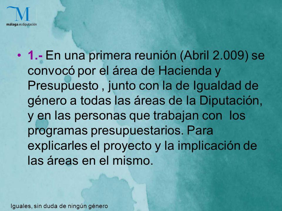 1.- En una primera reunión (Abril 2.009) se convocó por el área de Hacienda y Presupuesto, junto con la de Igualdad de género a todas las áreas de la Diputación, y en las personas que trabajan con los programas presupuestarios.