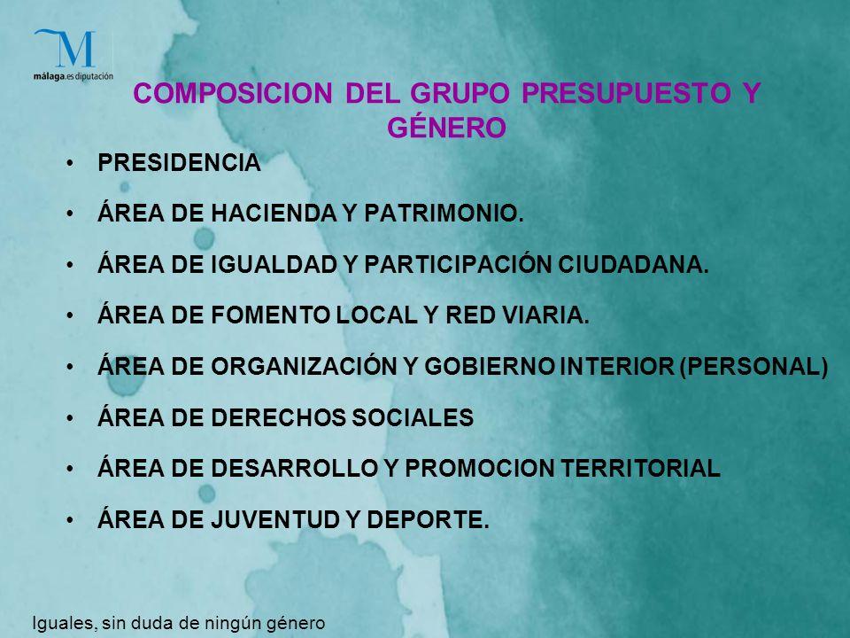 COMPOSICION DEL GRUPO PRESUPUESTO Y GÉNERO PRESIDENCIA ÁREA DE HACIENDA Y PATRIMONIO.