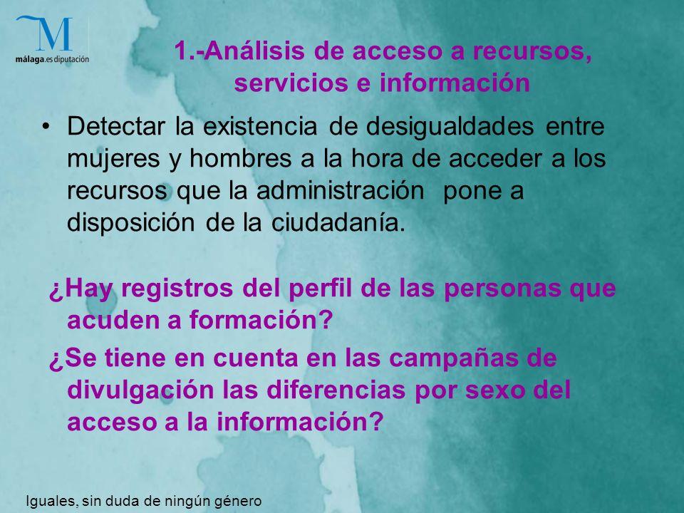 1.-Análisis de acceso a recursos, servicios e información Detectar la existencia de desigualdades entre mujeres y hombres a la hora de acceder a los recursos que la administración pone a disposición de la ciudadanía.
