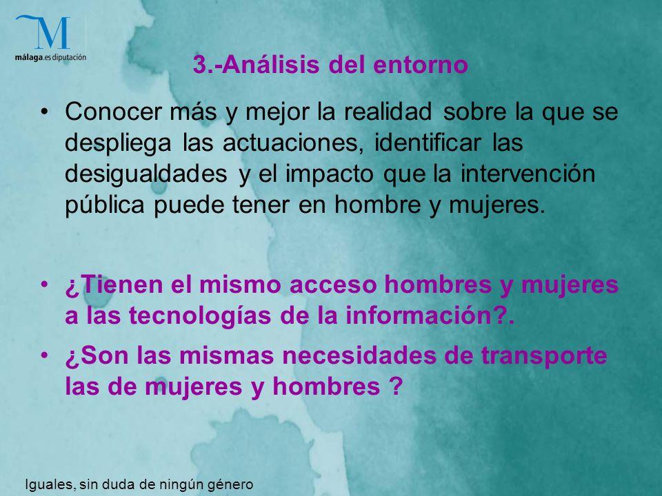 3.-Análisis del entorno Conocer más y mejor la realidad sobre la que se despliega las actuaciones, identificar las desigualdades y el impacto que la intervención pública puede tener en hombre y mujeres.