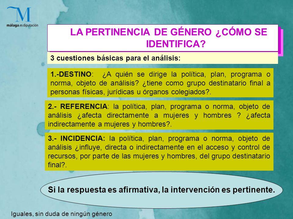 LA PERTINENCIA DE GÉNERO ¿CÓMO SE IDENTIFICA.