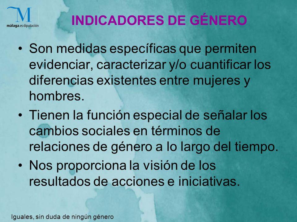 INDICADORES DE GÉNERO Son medidas específicas que permiten evidenciar, caracterizar y/o cuantificar los diferencias existentes entre mujeres y hombres.