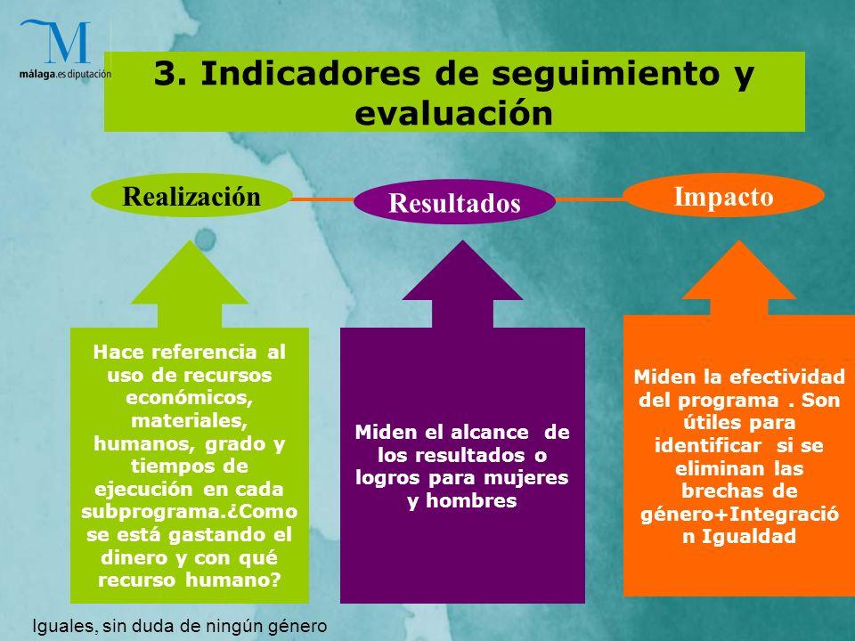 3. Indicadores de seguimiento y evaluación Hace referencia al uso de recursos económicos, materiales, humanos, grado y tiempos de ejecución en cada su