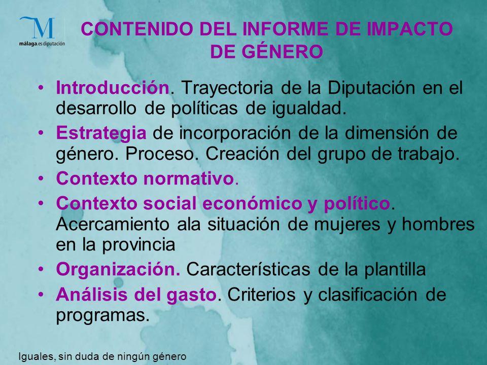 CONTENIDO DEL INFORME DE IMPACTO DE GÉNERO Introducción.