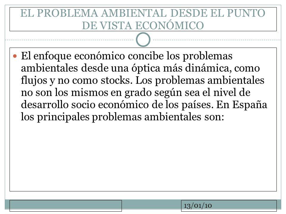 13/01/10 EL PROBLEMA AMBIENTAL DESDE EL PUNTO DE VISTA ECONÓMICO El enfoque económico concibe los problemas ambientales desde una óptica más dinámica,