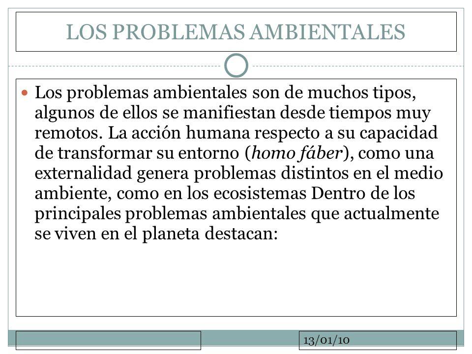 13/01/10 LOS PROBLEMAS AMBIENTALES Los problemas ambientales son de muchos tipos, algunos de ellos se manifiestan desde tiempos muy remotos. La acción