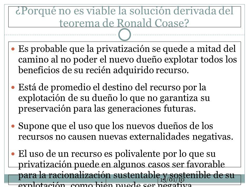 13/01/10 ¿Porqué no es viable la solución derivada del teorema de Ronald Coase? Es probable que la privatización se quede a mitad del camino al no pod
