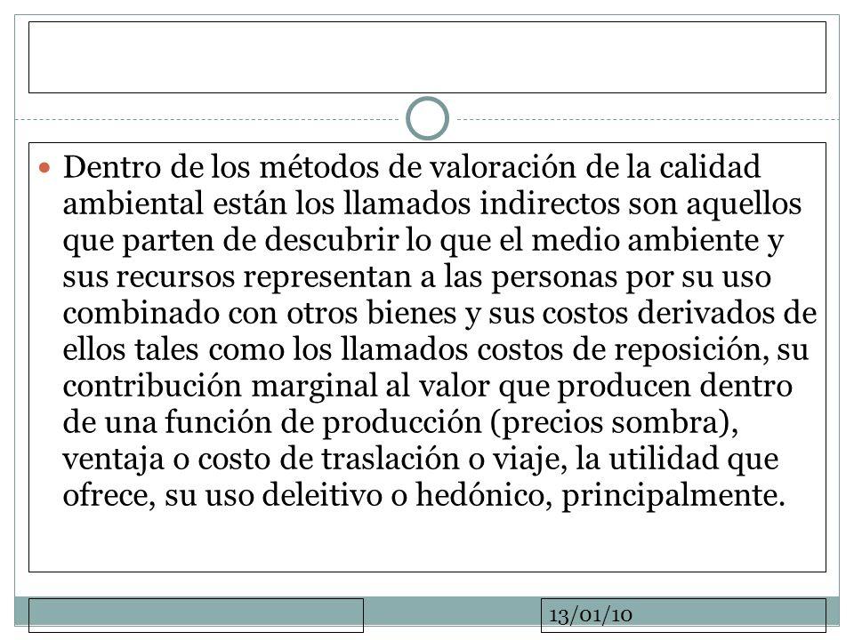 13/01/10 Dentro de los métodos de valoración de la calidad ambiental están los llamados indirectos son aquellos que parten de descubrir lo que el medi