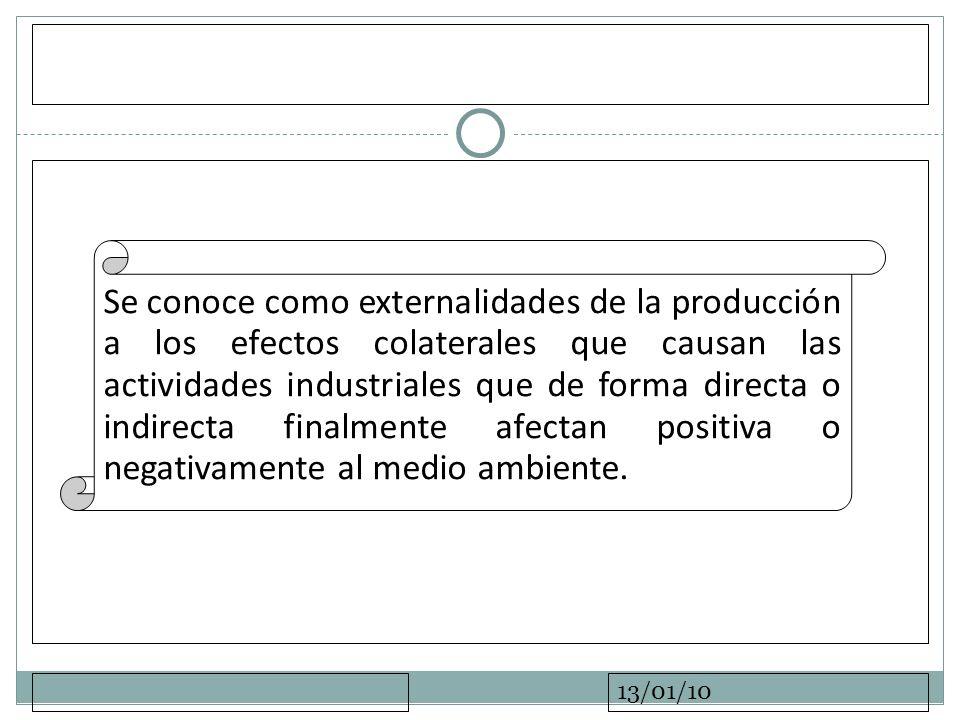 13/01/10 Se conoce como externalidades de la producción a los efectos colaterales que causan las actividades industriales que de forma directa o indir