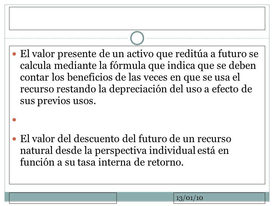 13/01/10 El valor presente de un activo que reditúa a futuro se calcula mediante la fórmula que indica que se deben contar los beneficios de las veces