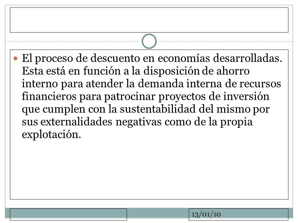 13/01/10 El proceso de descuento en economías desarrolladas. Esta está en función a la disposición de ahorro interno para atender la demanda interna d
