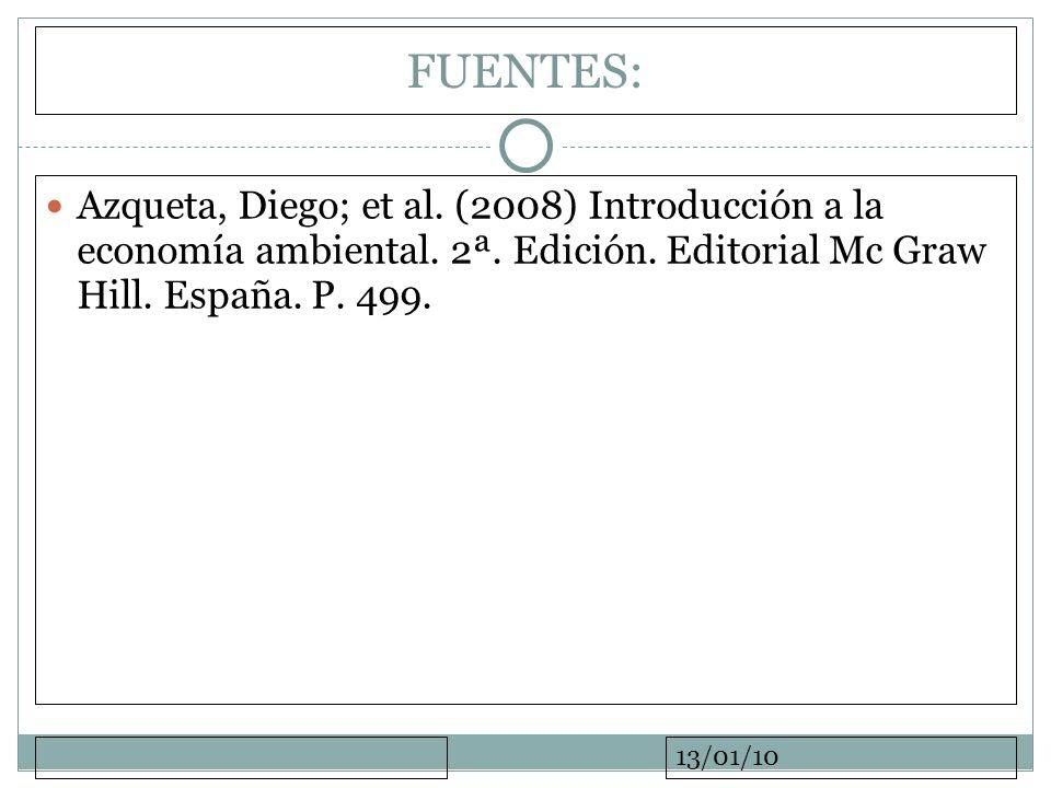 13/01/10 FUENTES: Azqueta, Diego; et al. (2008) Introducción a la economía ambiental. 2ª. Edición. Editorial Mc Graw Hill. España. P. 499.