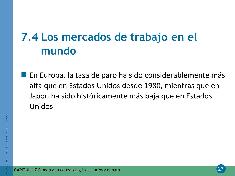 27 © 2008 by W. W. Norton & Company. All rights reserved CAPÍTULO 7 El mercado de trabajo, los salarios y el paro 7.4 Los mercados de trabajo en el mu