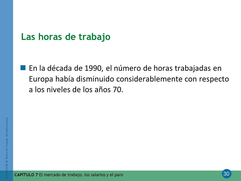 30 © 2008 by W. W. Norton & Company. All rights reserved CAPÍTULO 7 El mercado de trabajo, los salarios y el paro Las horas de trabajo En la década de